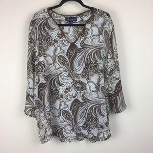 Susan Graver | Style Paisley Blouse Top XL